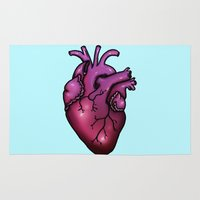 anatomical heart Area & Throw Rugs featuring Anatomical Heart by Hungry Designs