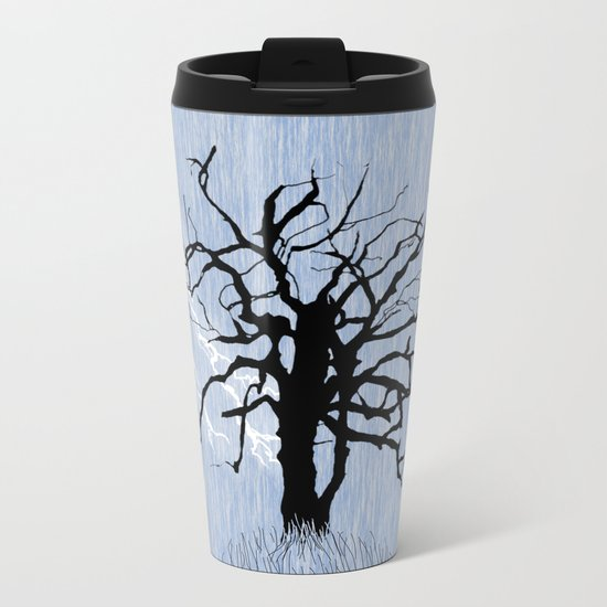 Gnarled Tree and Lightning Metal Travel Mug