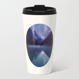 Mid Century Modern Round Circle Photo Reflective Purple And Blue Mountain Silhouette With Lake Travel Mug