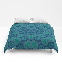 Jade , Aqua and Turquoise Symmetrical Pattern Comforters
