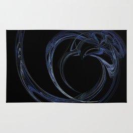 Fractal 6 Dark Blue Heart Rug