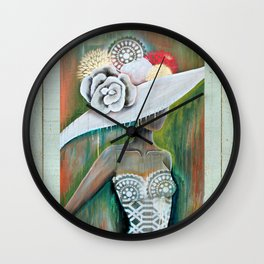 LADY IN THE WHITE HAT Wall Clock