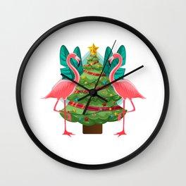 Flockin' Around The Christmas Tree Flamingo Wall Clock