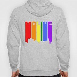 Moline Illinois Gay Pride Rainbow Skyline Hoody
