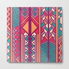 Tribal ethnic geometric pattern 001 Metal Print