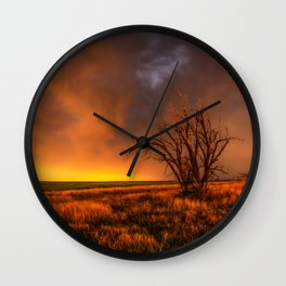 Fascinations - Warm Light and Rumbles of Thunder in Oklahoma Wall Clock