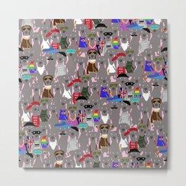 Big Dog Weim Nation Grey Ghost Weimaraner Hand-painted Pet Pattern on Pink Metal Print