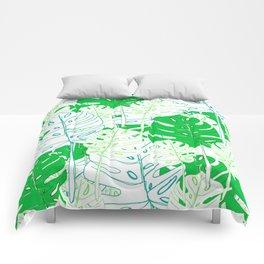 Banana Leaf in Teal Comforters