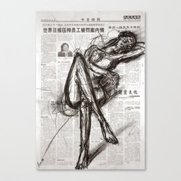 Brave - Charcoal on Newspaper Figure Drawing Canvas Print