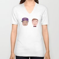 the grand budapest hotel V-neck T-shirts featuring Gustave & Zero - Grand Budapest Hotel by InQuadricromia