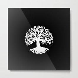 black and white abstract tree of life II Metal Print
