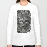cow Long Sleeve T-shirts featuring Lace Skull by Ali GULEC