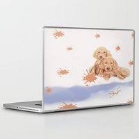 puppies Laptop & iPad Skins featuring Puppies by Nancy Smith