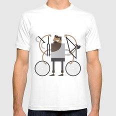 Back to Fixie Business MEDIUM Mens Fitted Tee White