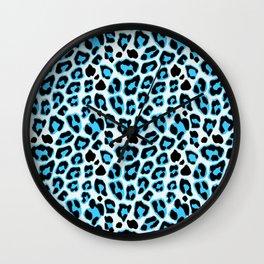 Blue & Black Leopard Print Pattern Wall Clock