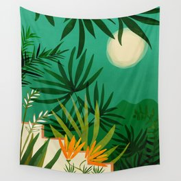 Exotic Garden Nightscape / Tropical Scene Wall Tapestry
