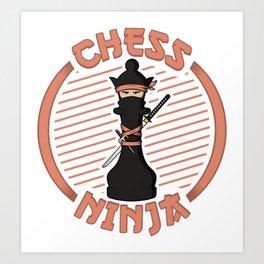 Chess Ninja Fighting Queen Figure - Cool Chess Club Gift Art Print
