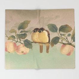 Golden Birds in Fruit Tree Throw Blanket