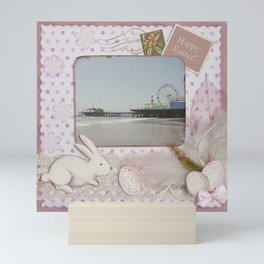 Happy Easter Santa Monica Pier Greeting Mini Art Print