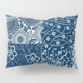 Japanese Flow Patch Blue Seamless Patterns Symbols Pillow Sham