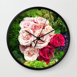 Roses_Bouquet of Red Roses_Bunch of Roses Wall Clock