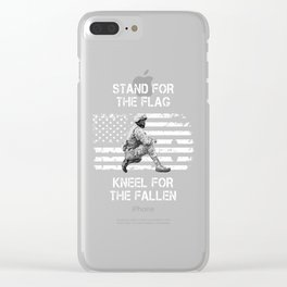 Stand for The Flag Kneel for The Fallen design Clear iPhone Case