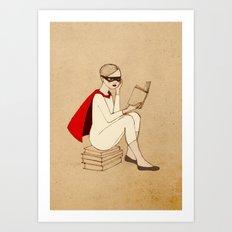 Superhero reader Art Print