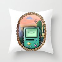 bmo Throw Pillows featuring BMO!! by SempiternalILLUSTRATIONS