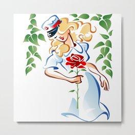 Student Nurse And Rose Metal Print
