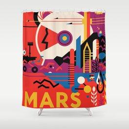 Retro Mars Vacation Ad from NASA Shower Curtain