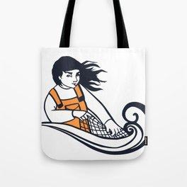 Cut Paper Fisherwoman Tote Bag