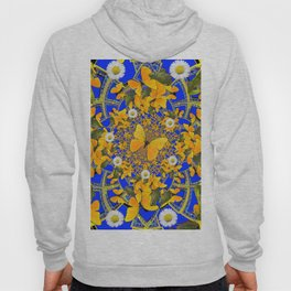 GREEN FROGS & BUTTERFLY WHITE DAISIES BLUE MANDALA Hoody