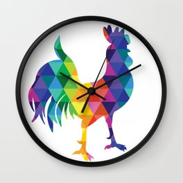 Geometric Galaxy - All the Colors of the Rainbow Wall Clock