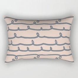 Minimalist Doodle Stripe Navy Gray on Blush Pink Rectangular Pillow