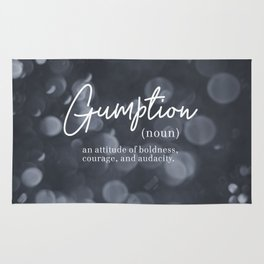 Gumption Definition - Word Nerd - Gray Bokeh Rug