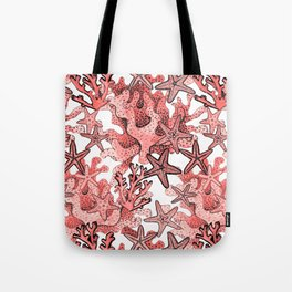 Living Coral and starfish, Coral reef Tote Bag