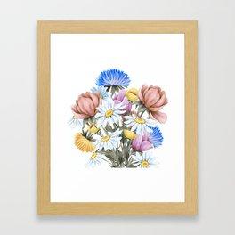 Summer Floral Watercolour Bouquet Framed Art Print