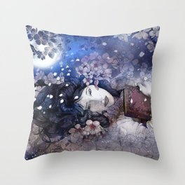 Amidst the blossoms Throw Pillow