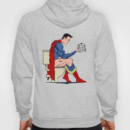 Superhero On Toilet, Restroom, bathroom art Hoody