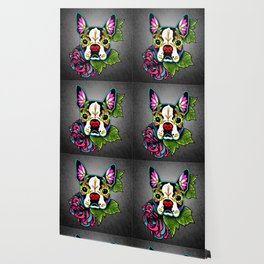 Boston Terrier in Black - Day of the Dead Sugar Skull Dog Wallpaper