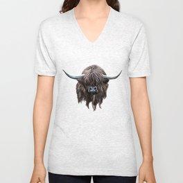 Scottish Highland Cow Unisex V-Neck