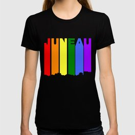 Juneau Alaska Gay Pride Rainbow Skyline T-shirt
