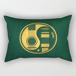 Vintage Green and Yellow Acoustic Electric Guitars Yin Yang Rectangular Pillow