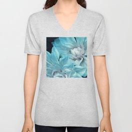 Royal Aqua Blue Floral Fine Art Unisex V-Neck