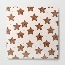 Leopard Star Copper Patern Design Print Metal Print