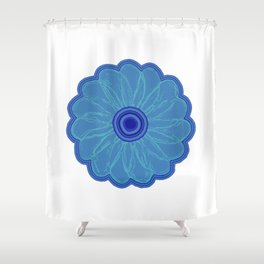 The Hand Drawn Funky Floral Retro Classic -Blue Moon Flower Design Shower Curtain