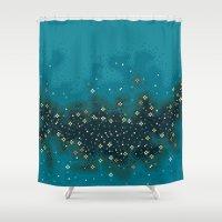 8bit Shower Curtains featuring Blue Rift Galaxy (8bit) by sp8cebit