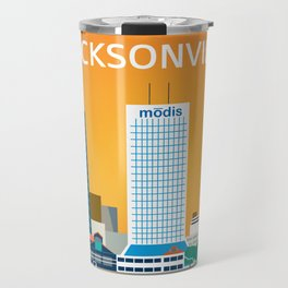 Jacksonville, Florida - Skyline Illustration by Loose Petals Travel Mug