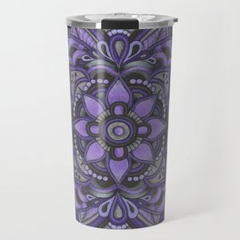Purple and Black Flower Travel Mug