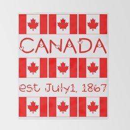 Canada Day Maple Leaf Pattern Canadian Flag Throw Blanket